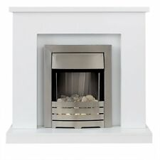 Lomond Fireplace Suite in Pure White with Electric Fire in Brushed Steel 39 Inch