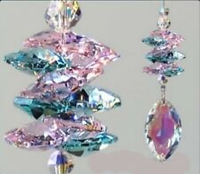 Suncatcher Made With 38mm Swarovski Crystal AB Marquise w Antique Green & Pink