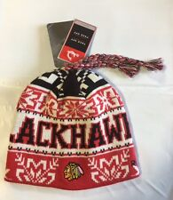 Chicago Blackhawks Knit Beanie Toque Winter Hat Skull Cap NHL New with Braids