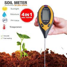 4 In1 LCD Digital Temperature Sunlight Moisture PH Meter Home Garden Soil Tester