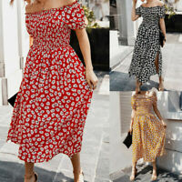 Womens Off the Shoulder Boho Maxi Dress Ladies Floral Summer Beach Midi Dress
