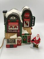 2003 Coca Cola Brand Town Square Collection 1st Edition Toy Shop And Santa!