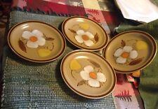 "Four Hearthside Stoneware Hand Painted Pattern Dogwood Tan Salad Plates 7 1/2"""