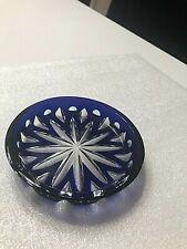Signed Faberge Cobalt Blue Wine Glass Crystal Coaster