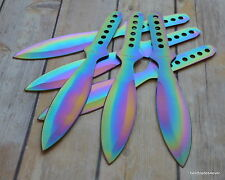 9 INCH OVERALL PERFECT POINT RAINBOW THROWING KNIFE STAINLESS STEEL - 6 PCS SET