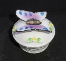 Vintage Lefton Porcelain Round Trinket Box Butterfly and Yellow Flowers #2487
