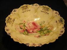 Ornate Large Germany Porcelain Bowl Pink Center Rose & Molded Flower Edge Design