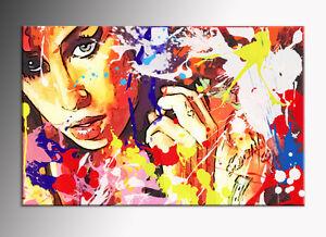 QUADRO astratto Amy Winehouse STAMPA SU TELA abstract  POP ART CON TELAIO