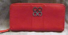 COACH JULIA RED & SILVER ZIPPED PEBBLE LEATHER WALLET~CLUTCH~OPTIC C LOGO~