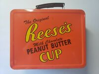 Vintage Reeses Peanut Butter Cup Chocolate Tin Lunch Box Canister Collectible