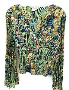 Alberto Makali Womens Large Top Floral Sequin Bell Sleeve Blouse Peplum Smocked