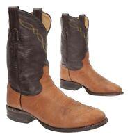 TONY LAMA Cowboy Boots 8 D Mens Brown Leather Western Roper Boots Biker USA