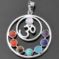 7 Stone Chakra Healing Point Reiki Bead Gemstone Pendant For Necklace Jewellery