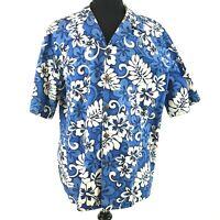 Hilo Hattie Hawaiian Original Shirt XL Blue White Floral Aloha Hibiscus Luau