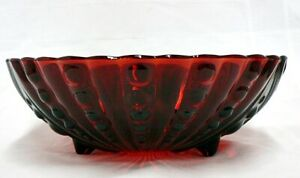 """VINTAGE ANCHOR HOCKING  RUBY RED 8.5"""" FOOTED SERVING BOWL"""