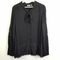 [ SUSSAN ] Womens Black Blouse Top w/ Lace detail | Size AU 18 or US 14