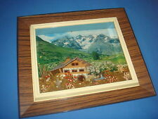 joli CADRE STYLE DIORAMA deco montagne chalet relief TBE 60's 70's kitsch collec