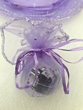 50 PRETTY SPARKLY SEQUIN LILAC ROUND ORGANZA GIFT FAVOUR BAGS 26cm Diameter