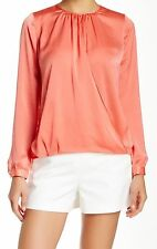 New! VINCE Coral Pink Keyhole Faux-Wrap Cuffed-Sleeve Blouse 1155 Size 4