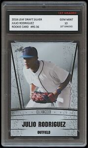 JULIO RODRIGUEZ 2020 LEAF SILVER 1ST GRADED 10 ROOKIE CARD RC SEATTLE MARINERS