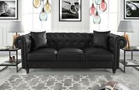 Leather Chesterfield Sofa PU Leather Tufted Sofa Black Couch, Accent Pillows (2)
