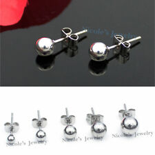 Men's Women's Stainless Steel  Ball Bead Stud Earrings Piercing With Gift Pouch