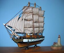 "Wooden Ship Model USS CONSTITUTION 1797 w/brass cannons 13"" Long Fully Assembled"