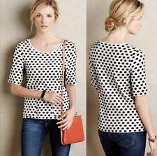 Anthropologie Moth Dottie Knit Pullover Size S/P Polka Dot Black & White
