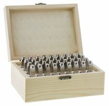 "Deluxe Punch Stamp Set 1/4"" 6mm Letter Number Jewelry Kit Leather Metal Wood Box"