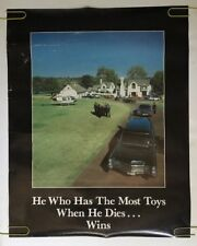 He with the most toys dies wins vintage pin-up poster limo helicopter mansion