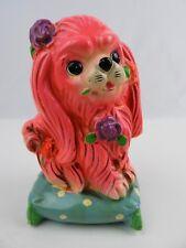 Vintage 1970 Hot Pink Poodle on Pillow Chalkware Piggy Coin Bank Missing Plug