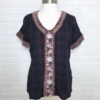Johnny Was Small S Velvet Trim Embroidered Plaid Top Vneck Navy Blue Red Boho