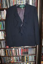Lauren Ralph Lauren Blue Wool Ruffle Front Blazer Jacket Ladies sz 6  (bin76)
