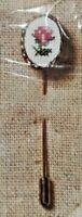 1983 NIP Counted Cross Stitch Embroidery Kit Pink Rosebud Stickpin Jewelry 7018F