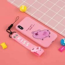 Hot Cute Cartoon Kiss Pig Creative Lanyard Silicone Case Cover For Various Phone