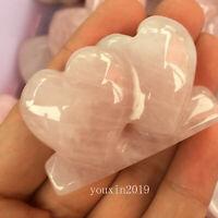 Natural Rose Pink Quartz Crystal Doubl Heart Specimen Crystal Reiki Healing 1PC