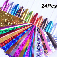 24Pcs 4*100cm Foil for Nails Starry Sky Shimmer Wraps Holo Transfer Stickers