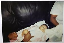 Vintage PHOTO Little Baby Laying On Couch Getting A Diaper Change