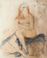 Masood Kohari (Indian 1939) Ink & watercolor on paper of Nude Woman Signed