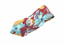 Vintage Chaps Ralph Lauren Abstract Leaf Multi-Color Men's 100% Silk Necktie Usa