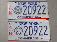 1986 - 2000 New York NY Pair of Volunteer Firefighter Commercial License Plates