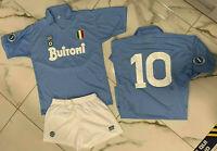 1 maglia e pantaloncini MARADONA NAPOLI BUITONI 1987/88 adulti bambini ricamata
