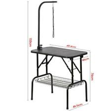 GROOMING TABLE Foldable Dog/Cat Black Drying Table W/Arm Noose and Mesh Tray