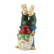 Detailed Colorful Acrobatic Gnome Garden Statue with Solar Lightup Glasses 12.75