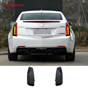 2Pcs For Cadillac ATS Tail Lights Assembly 2014-2017 Black Color LED Rear Lamps