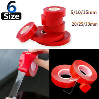 Double Sided Super Sticky Clear Adhesive Tape Red Strong Craft DIY Roll 5-30mm !
