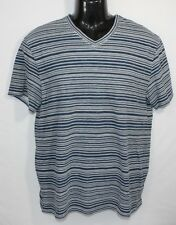Elie Tahari Men's Dark Blue White Stripes V-Neck 100% Cotton Shirt ~ Size Medium