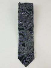DONALD J. TRUMP Signature Collection Black Purple Paisley Luxury Men's Silk Tie