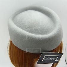 Wool Felt Ladies Pillbox Hat Women Fascinator | Grey | Round | VINTAGE x ELEGANT