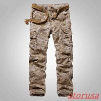 Mens Straight Leg desert Camouflage Cargo Pants Outdoor Military Casual Trousers